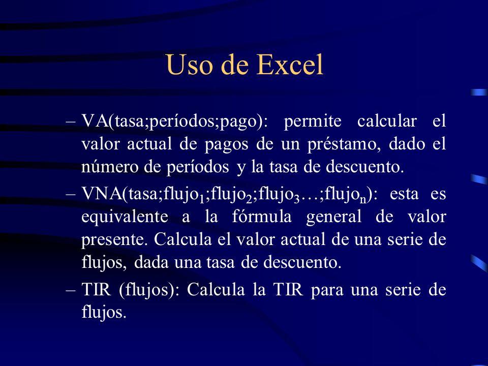 Uso de Excel VA(tasa;períodos;pago): permite calcular el valor actual de pagos de un préstamo, dado el número de períodos y la tasa de descuento.