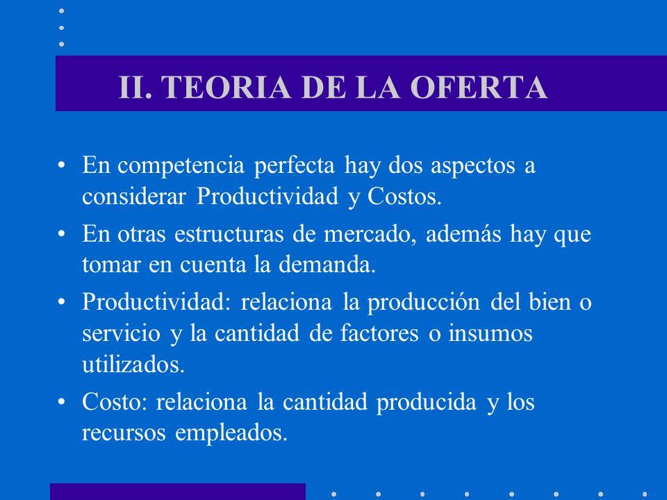 II. TEORIA DE LA OFERTA En competencia perfecta hay dos aspectos a considerar Productividad y Costos.