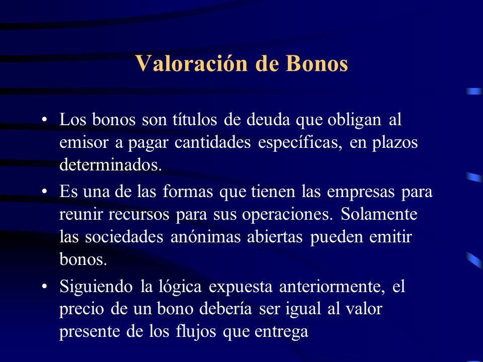 Valoración de Bonos Los bonos son títulos de deuda que obligan al emisor a pagar cantidades específicas, en plazos determinados.