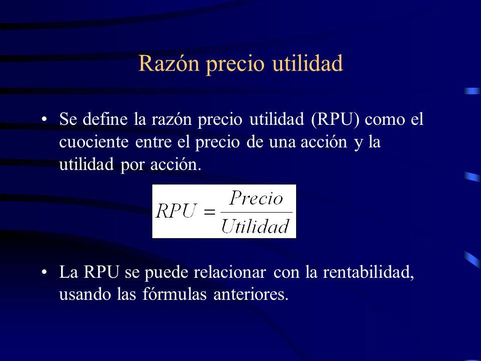 Razón precio utilidadSe define la razón precio utilidad (RPU) como el cuociente entre el precio de una acción y la utilidad por acción.