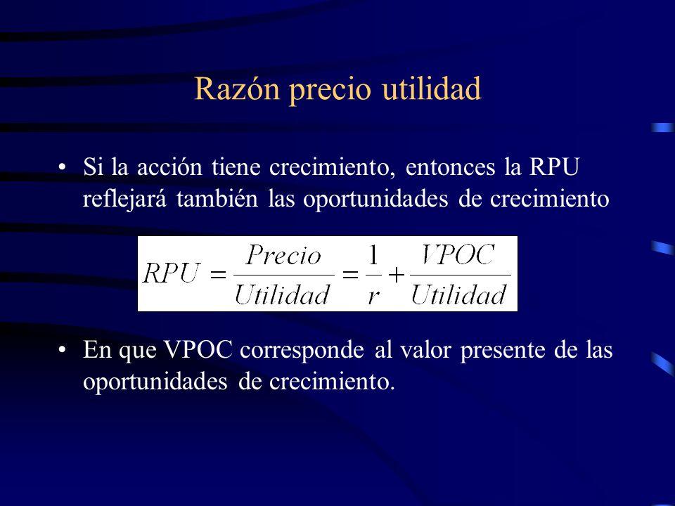 Razón precio utilidadSi la acción tiene crecimiento, entonces la RPU reflejará también las oportunidades de crecimiento.