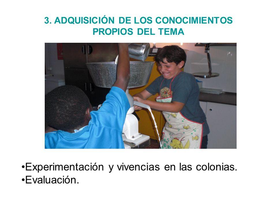 3. ADQUISICIÓN DE LOS CONOCIMIENTOS PROPIOS DEL TEMA