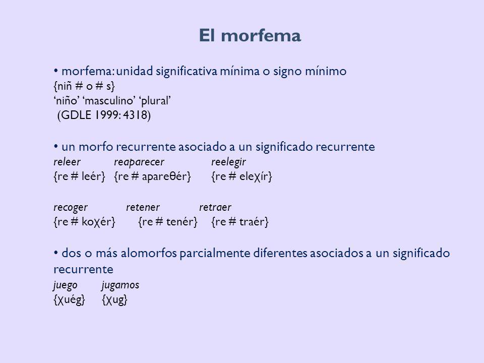 El morfema morfema: unidad significativa mínima o signo mínimo