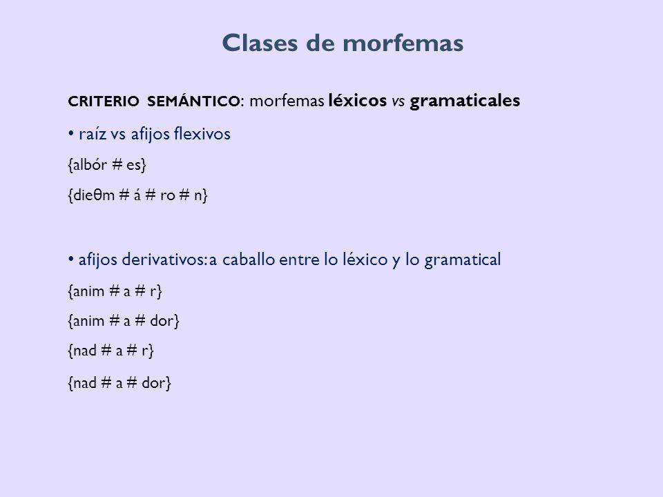 Clases de morfemas criterio semántico: morfemas léxicos vs gramaticales. raíz vs afijos flexivos. {albór # es}