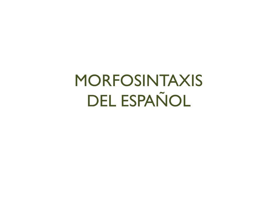 MORFOSINTAXIS DEL ESPAÑOL