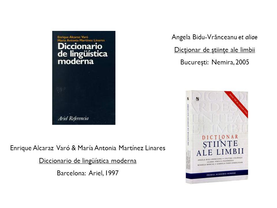 Angela Bidu-Vrănceanu et aliae Dicţionar de ştiinţe ale limbii