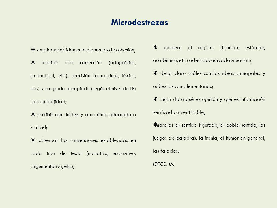 Microdestrezas  emplear el registro (familiar, estándar, académico, etc.) adecuado en cada situación;