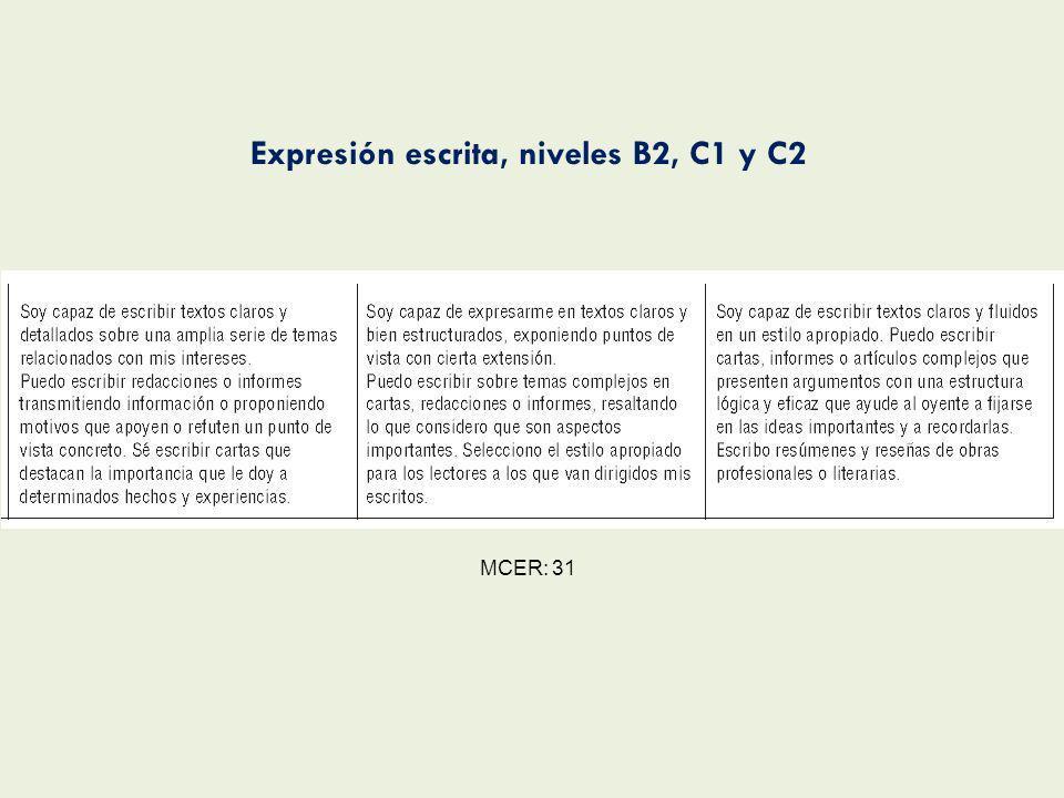 Expresión escrita, niveles B2, C1 y C2