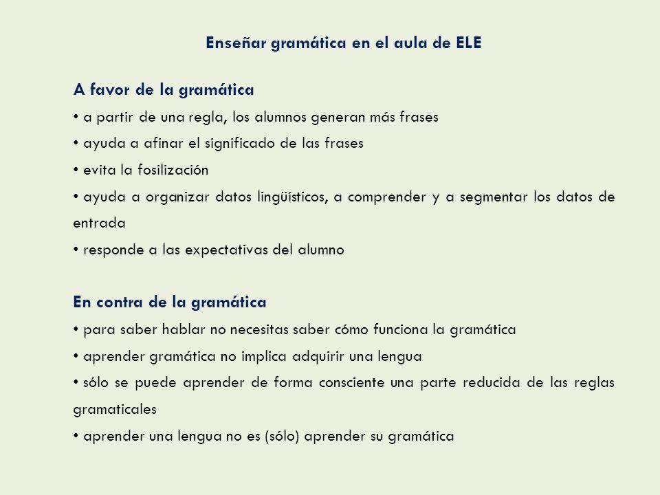 Enseñar gramática en el aula de ELE