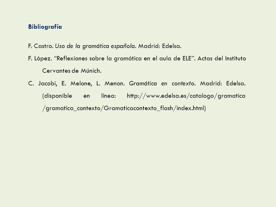 BibliografíaF. Castro. Uso de la gramática española. Madrid: Edelsa.
