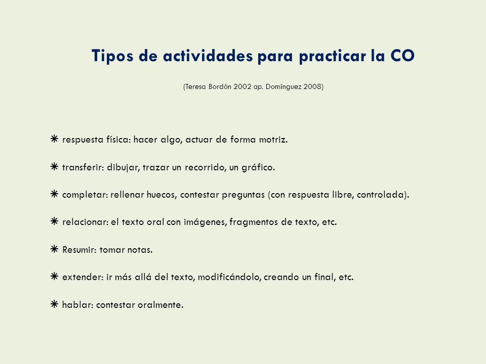 Tipos de actividades para practicar la CO