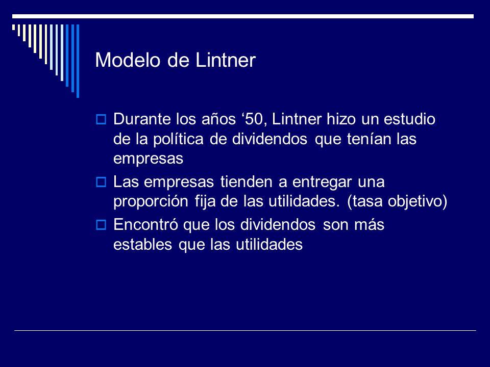 Modelo de Lintner Durante los años '50, Lintner hizo un estudio de la política de dividendos que tenían las empresas.