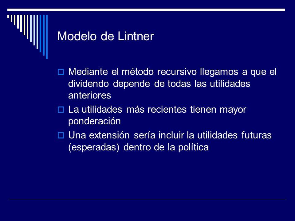 Modelo de Lintner Mediante el método recursivo llegamos a que el dividendo depende de todas las utilidades anteriores.