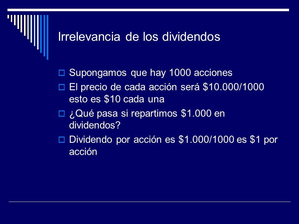 Irrelevancia de los dividendos