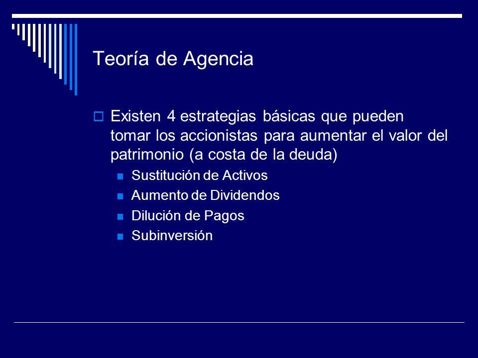 Teoría de AgenciaExisten 4 estrategias básicas que pueden tomar los accionistas para aumentar el valor del patrimonio (a costa de la deuda)