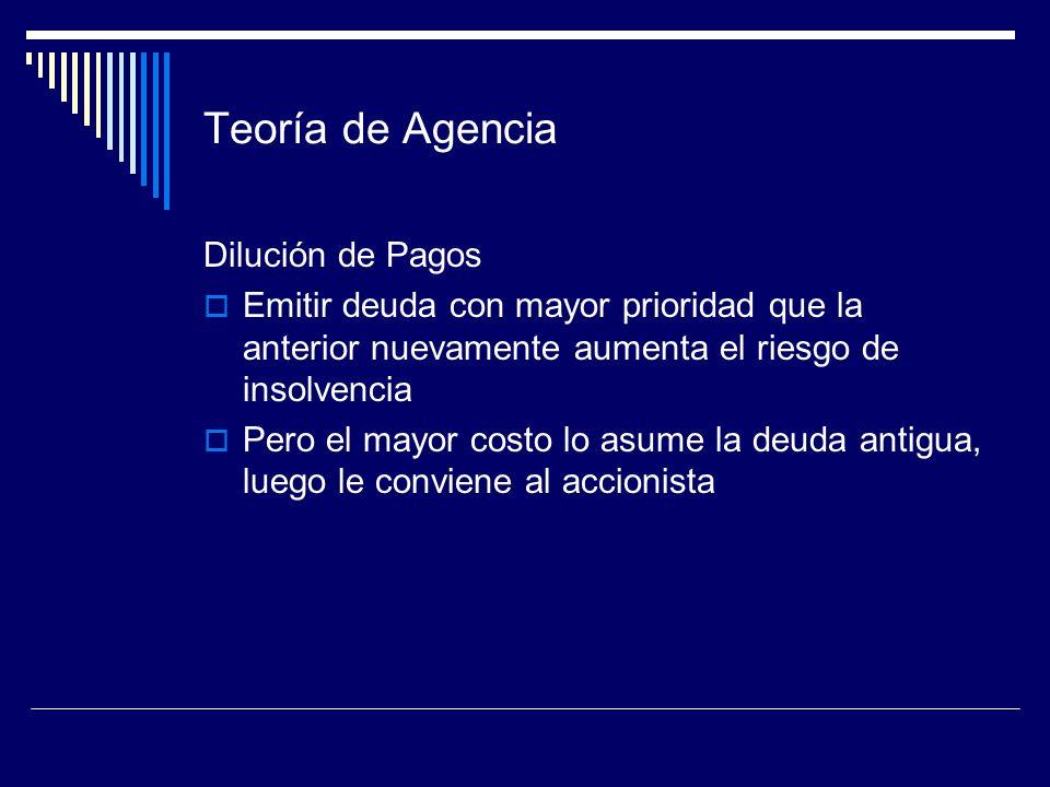 Teoría de Agencia Dilución de Pagos