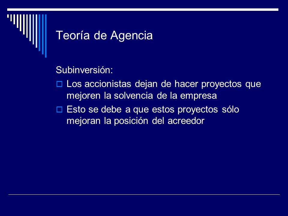 Teoría de Agencia Subinversión: