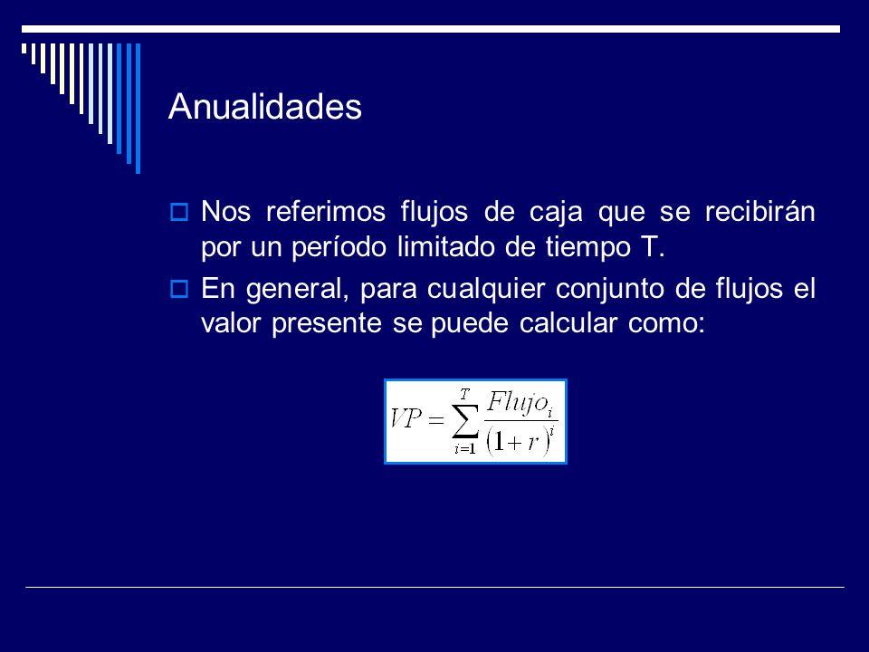 AnualidadesNos referimos flujos de caja que se recibirán por un período limitado de tiempo T.