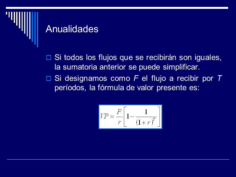 AnualidadesSi todos los flujos que se recibirán son iguales, la sumatoria anterior se puede simplificar.