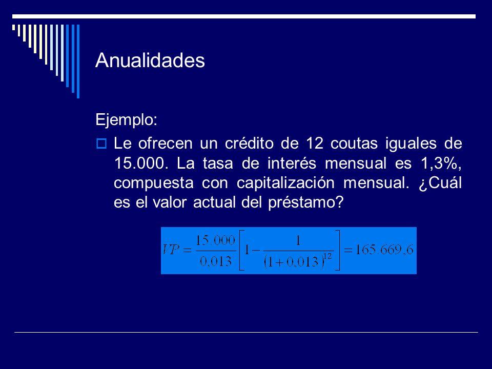 Anualidades Ejemplo: