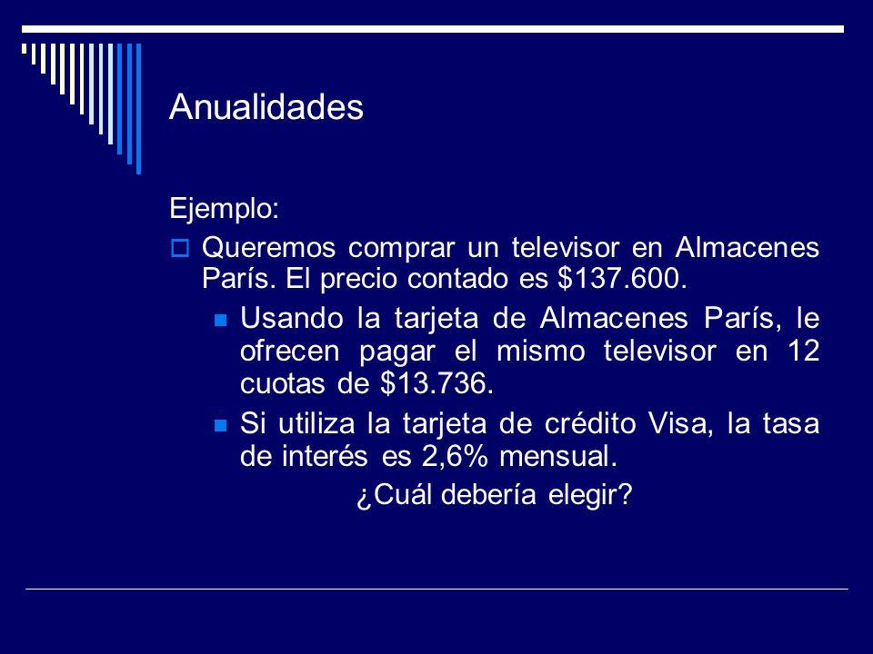 Anualidades Ejemplo: Queremos comprar un televisor en Almacenes París. El precio contado es $137.600.