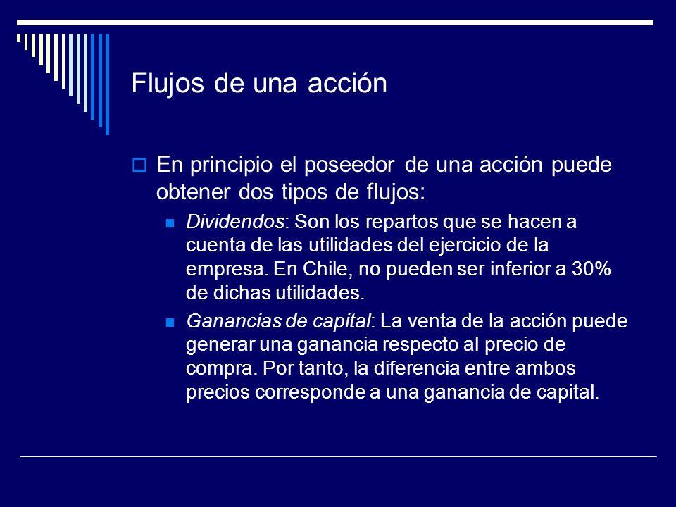 Flujos de una acción En principio el poseedor de una acción puede obtener dos tipos de flujos: