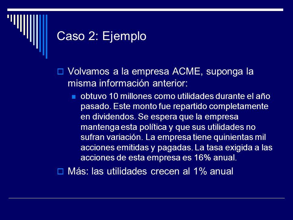 Caso 2: Ejemplo Volvamos a la empresa ACME, suponga la misma información anterior: