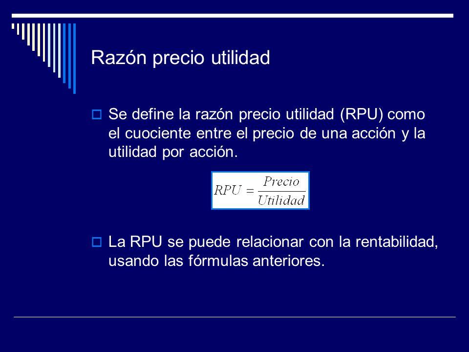 Razón precio utilidad Se define la razón precio utilidad (RPU) como el cuociente entre el precio de una acción y la utilidad por acción.
