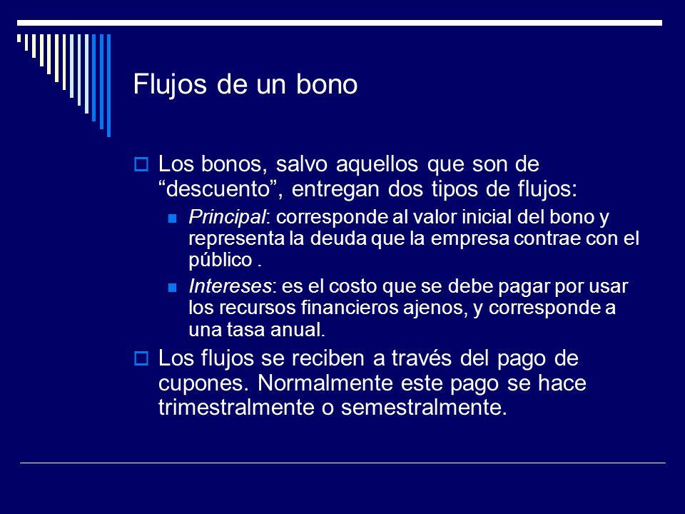 Flujos de un bonoLos bonos, salvo aquellos que son de descuento , entregan dos tipos de flujos: