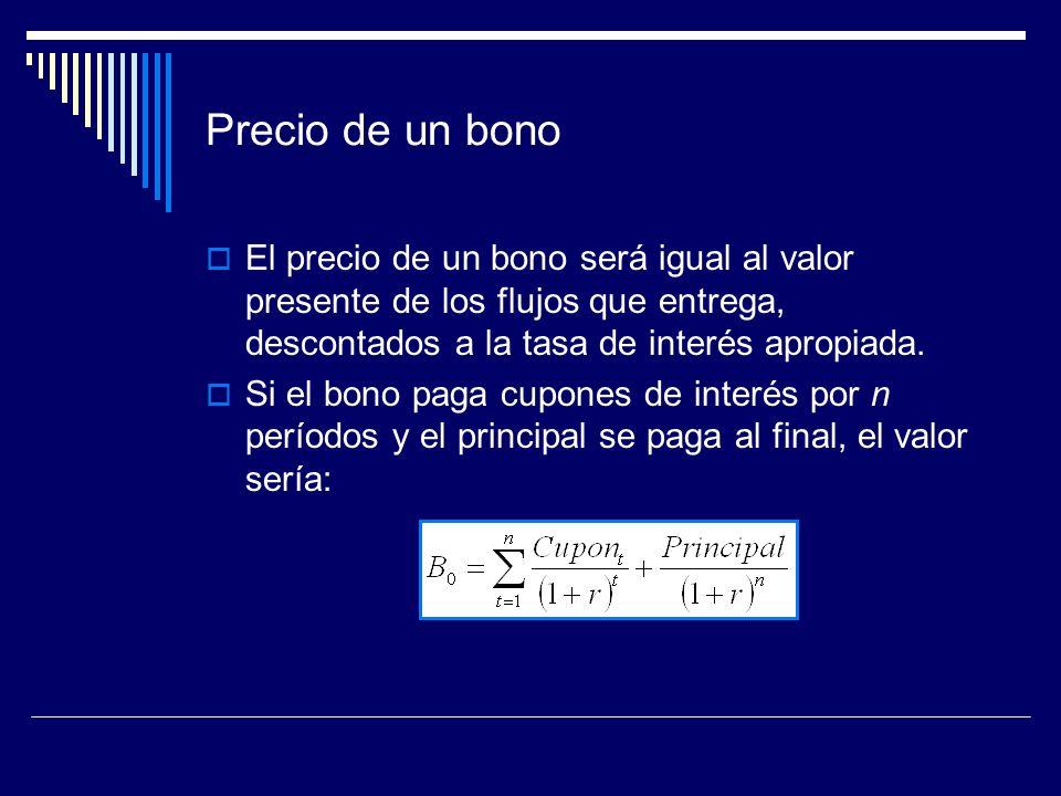Precio de un bonoEl precio de un bono será igual al valor presente de los flujos que entrega, descontados a la tasa de interés apropiada.