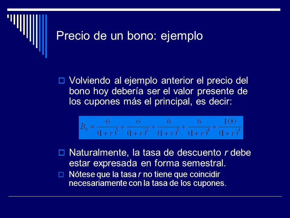 Precio de un bono: ejemplo