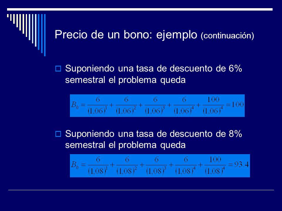 Precio de un bono: ejemplo (continuación)