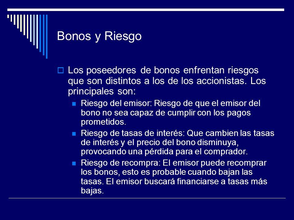 Bonos y Riesgo Los poseedores de bonos enfrentan riesgos que son distintos a los de los accionistas. Los principales son: