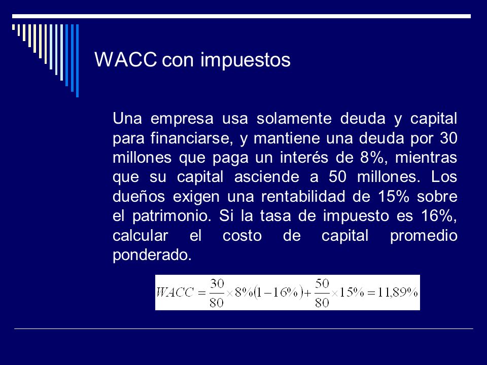 WACC con impuestos