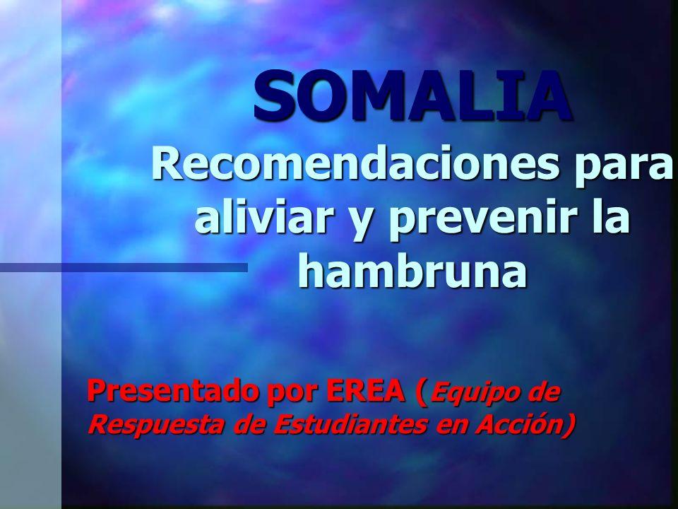 SOMALIA Recomendaciones para aliviar y prevenir la hambruna