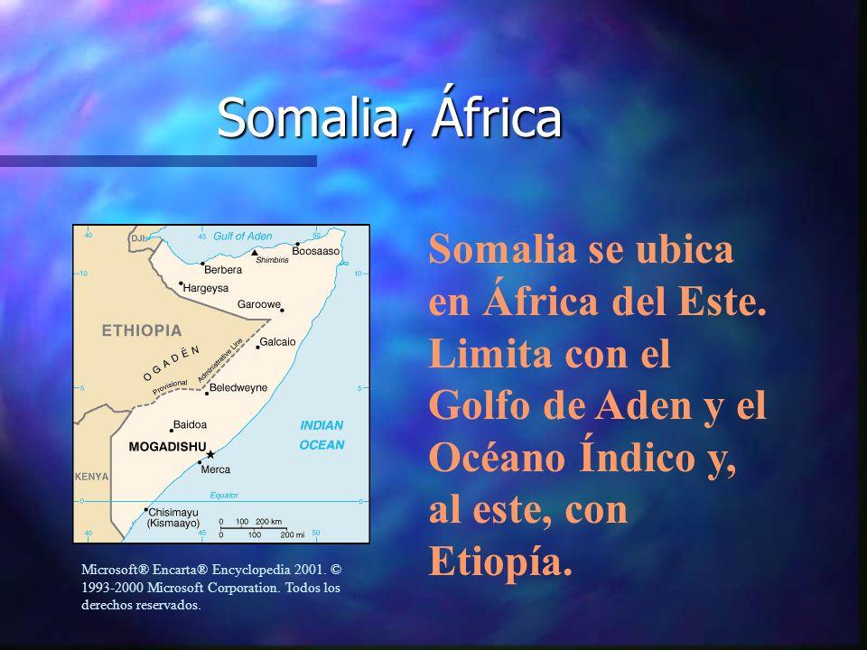 Somalia, ÁfricaSomalia se ubica en África del Este. Limita con el Golfo de Aden y el Océano Índico y, al este, con Etiopía.