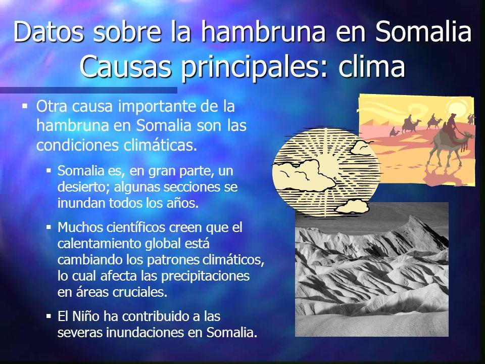 Datos sobre la hambruna en Somalia Causas principales: clima