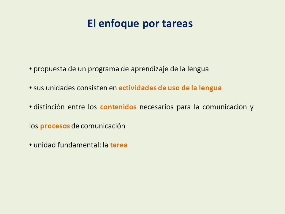 El enfoque por tareaspropuesta de un programa de aprendizaje de la lengua. sus unidades consisten en actividades de uso de la lengua.