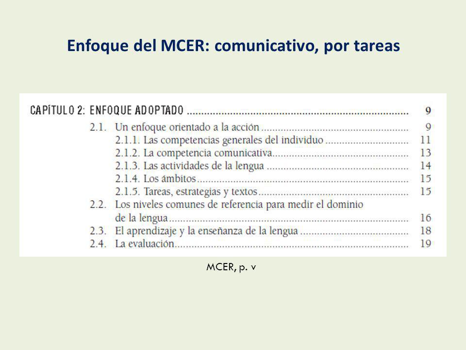 Enfoque del MCER: comunicativo, por tareas
