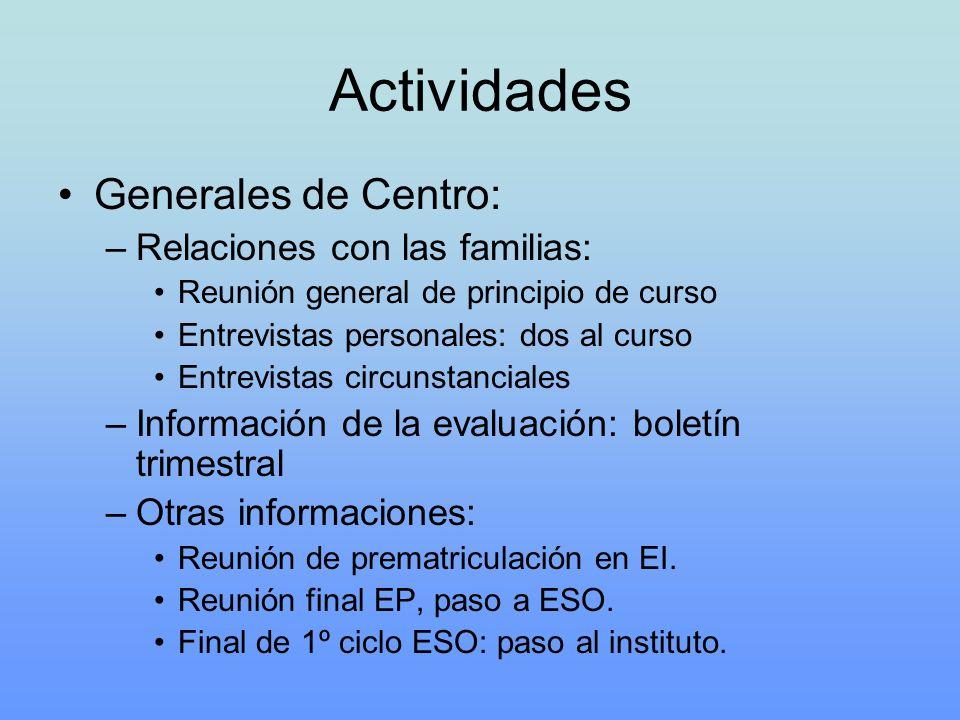 Actividades Generales de Centro: Relaciones con las familias: