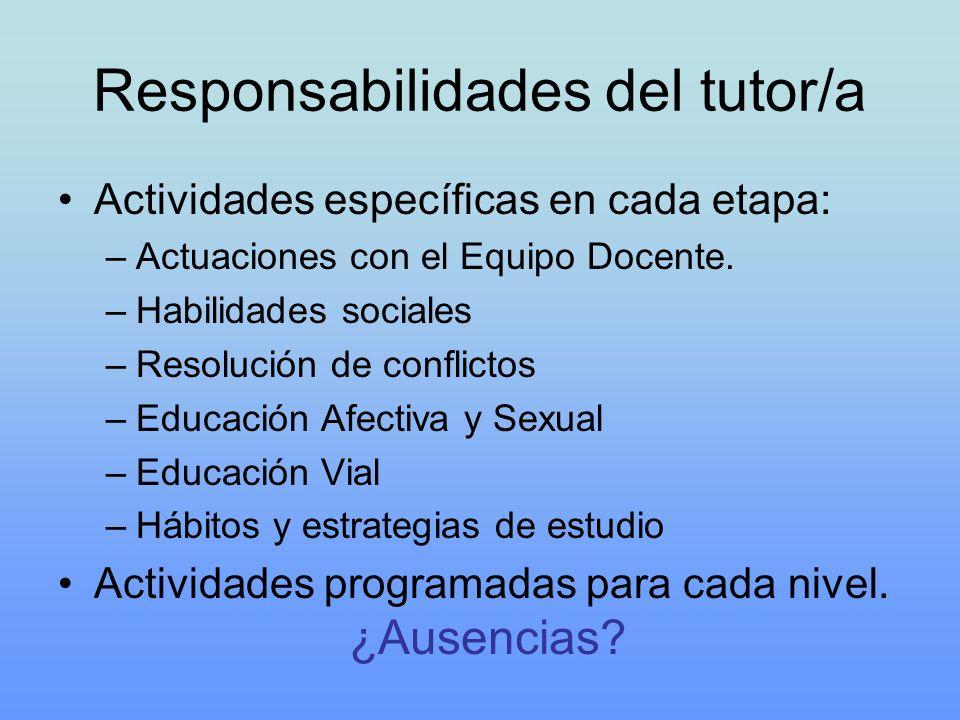 Responsabilidades del tutor/a