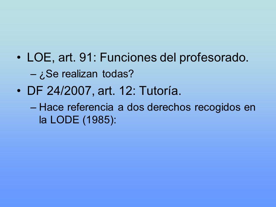LOE, art. 91: Funciones del profesorado. DF 24/2007, art. 12: Tutoría.