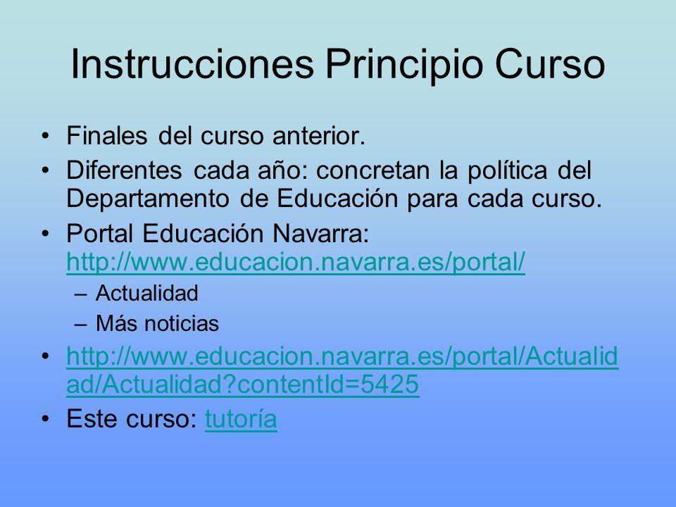 Instrucciones Principio Curso