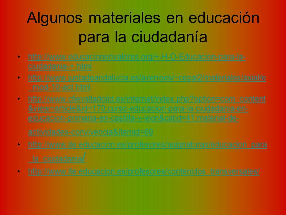 Algunos materiales en educación para la ciudadanía