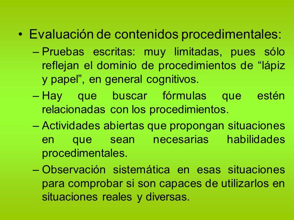 Evaluación de contenidos procedimentales: