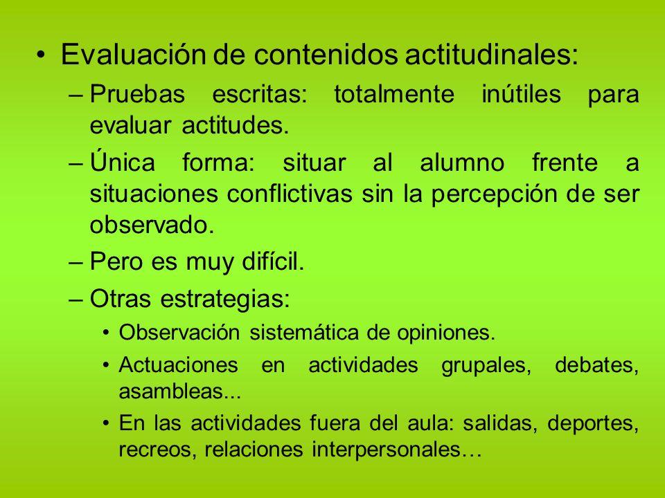 Evaluación de contenidos actitudinales: