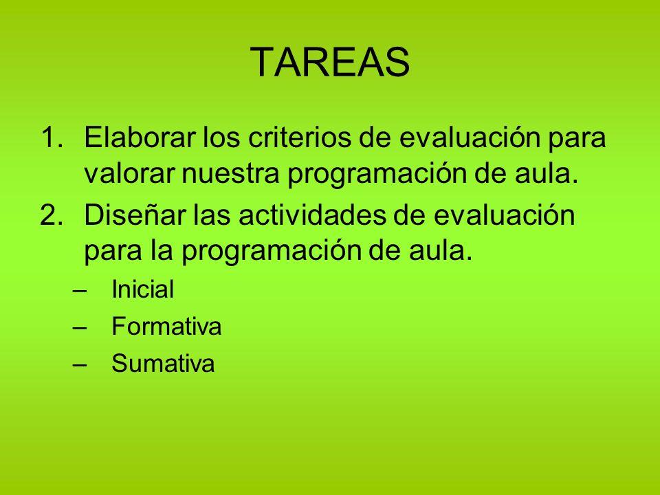 TAREAS Elaborar los criterios de evaluación para valorar nuestra programación de aula.