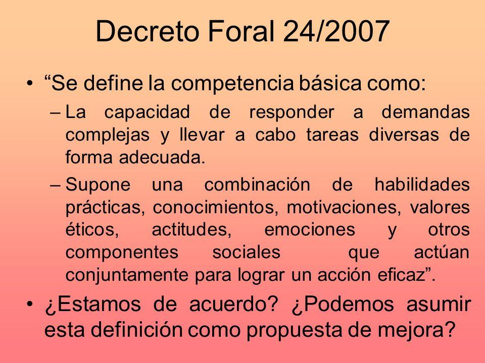 Decreto Foral 24/2007 Se define la competencia básica como: