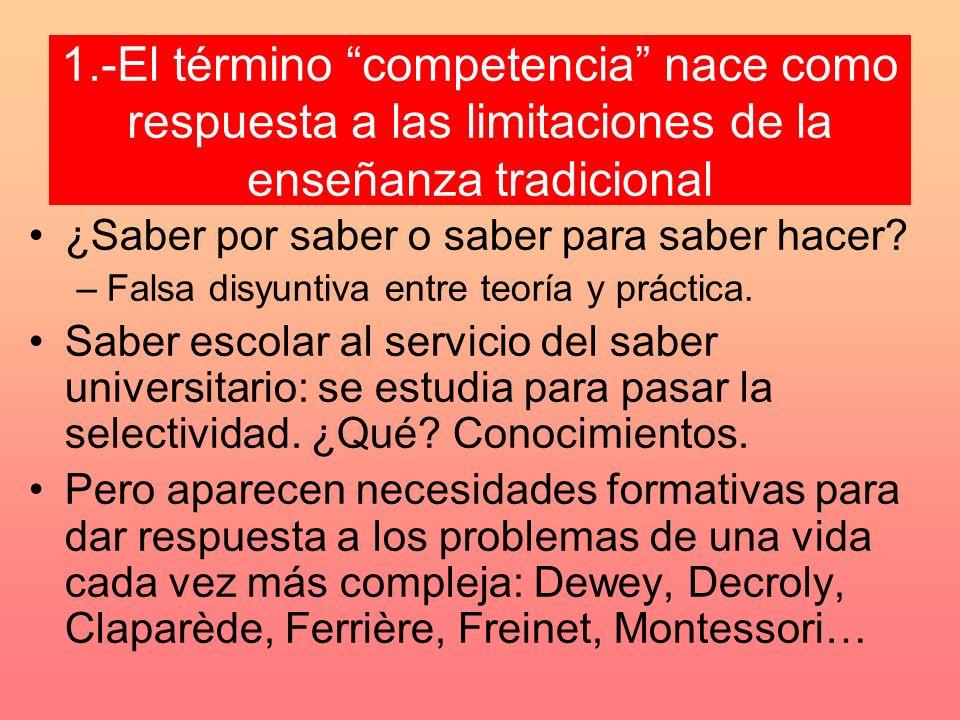1.-El término competencia nace como respuesta a las limitaciones de la enseñanza tradicional