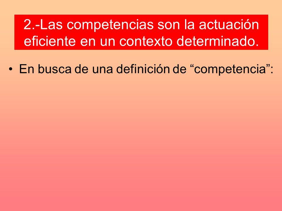 2.-Las competencias son la actuación eficiente en un contexto determinado.
